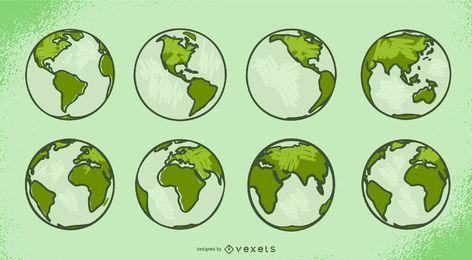 Conjunto de ilustración de objeto de tierra verde