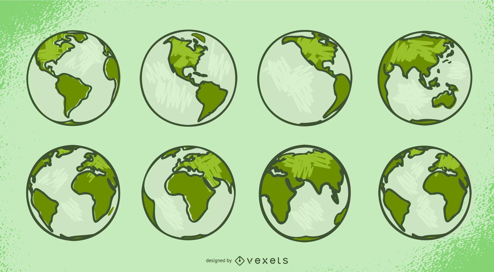 Green Earth Object Illustration Set