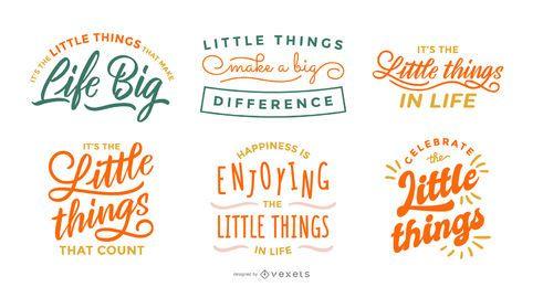 Pacote de letras para pequenas coisas