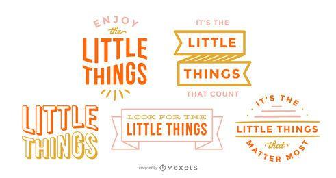 Conjunto de letras pequenas coisas