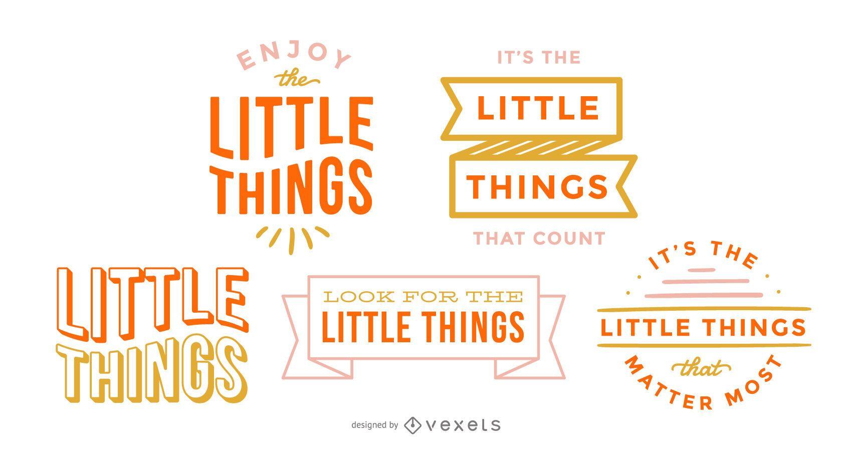 Conjunto de letras de pequeñas cosas