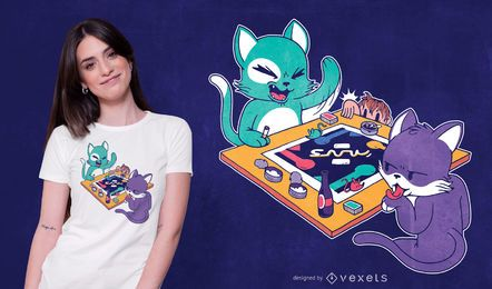 Design de t-shirt de jogo de tabuleiro de gatos