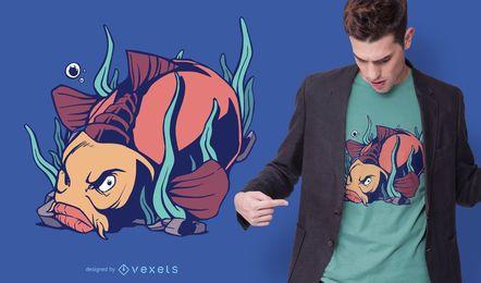 Diseño de camiseta de pez carpa enojado