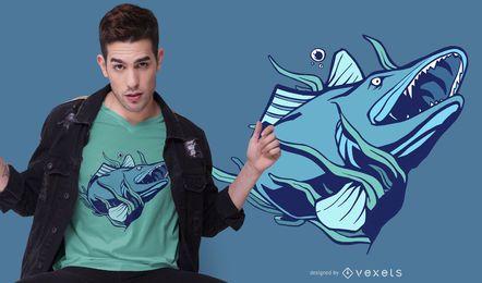 Diseño de camiseta de pez lucioperca