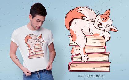 Design de t-shirt de livros de gato