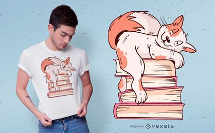 Diseño de camiseta de cat books