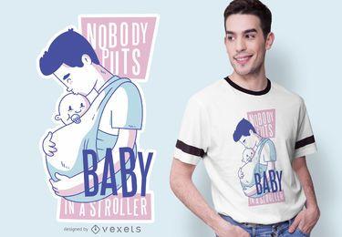 Design de t-shirt com citações do pai babywearing
