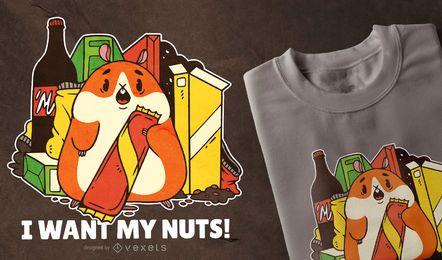 Design do t-shirt das citações da comida lixo do hamster