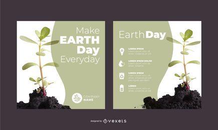 Conjunto de banner de planta do Dia da Terra