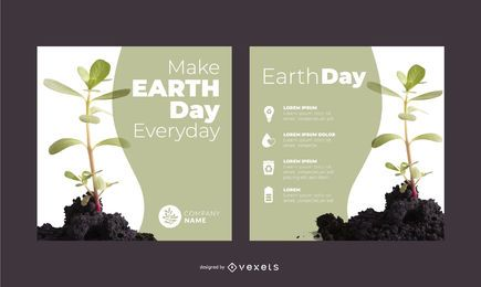 Earth day plant banner set