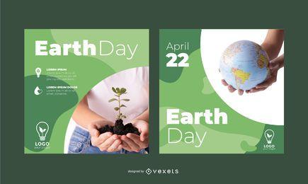 Conjunto de Banner quadrado de maquete do dia da terra