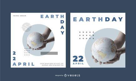 Conjunto de banner editável do dia da terra