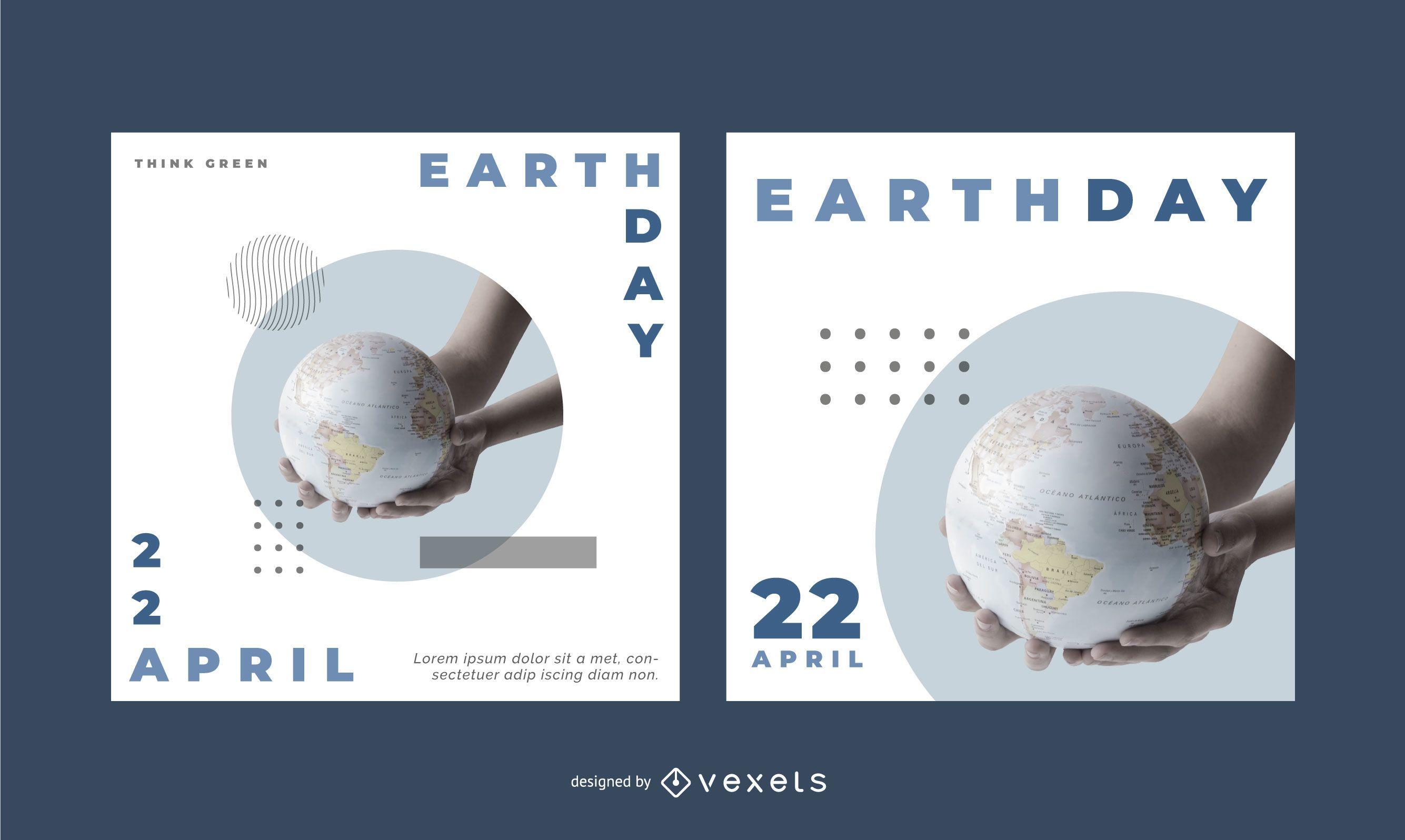 Conjunto de banners editables del Día de la Tierra