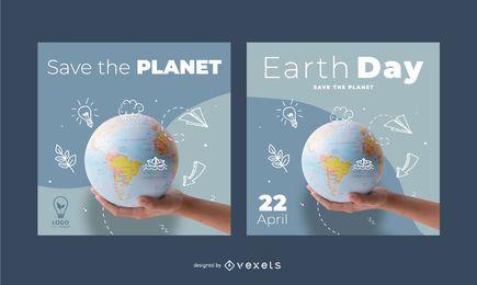 Paquete de pancartas cuadradas del Día de la Tierra