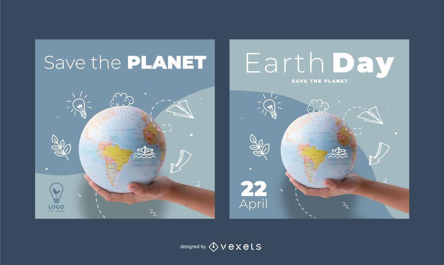 Paquete de Banner Cuadrado del Día de la Tierra