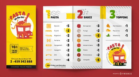 Design de modelo de menu de caminhão de comida