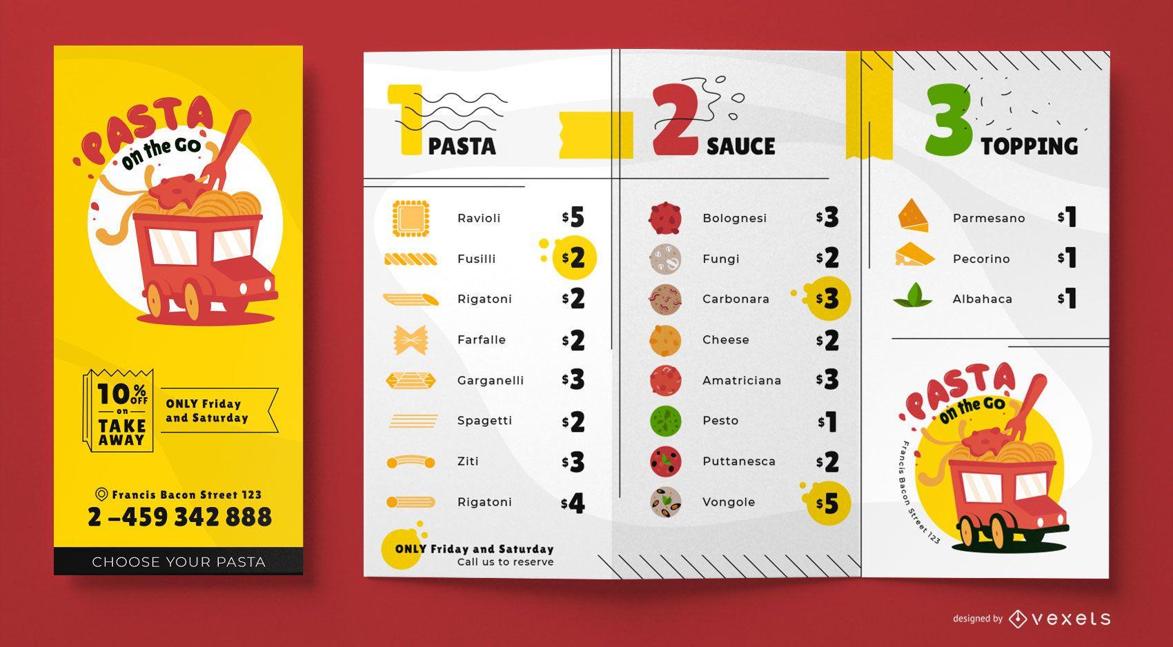 Design de modelo de menu de food truck