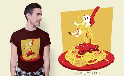 Pasta Cat T-shirt Design