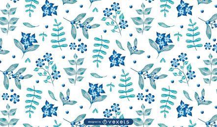 Design de padrão floral azul aquarela