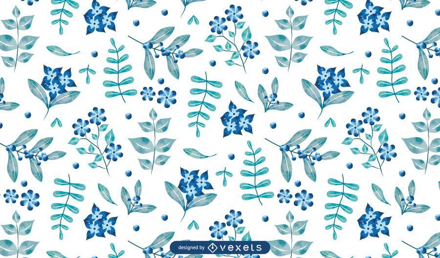 Watercolor Blue Floral Pattern Design