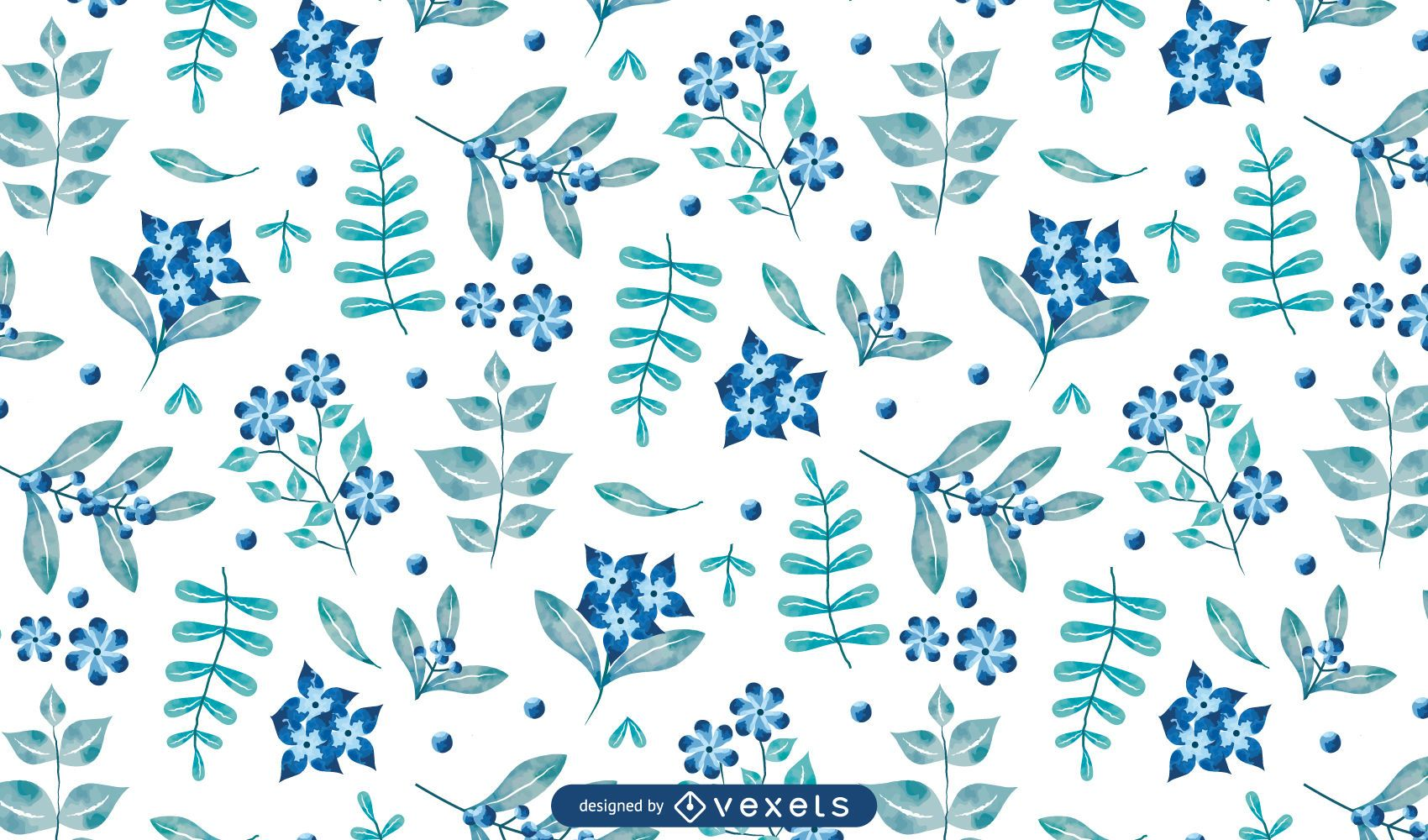 Diseño de patrón floral azul acuarela