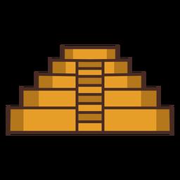 Trazo de icono colorido templo azteca