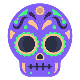 Calavera colorful skull flat