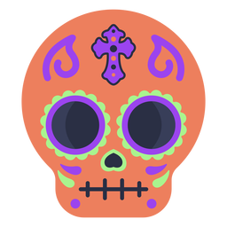 Colorful calavera skull flat