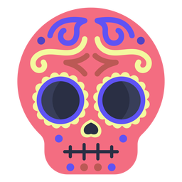 Colorful flat calavera skull