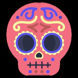 Crânio de calavera plana colorida