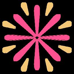 Trazo de fuegos artificiales de forma de flor colorida