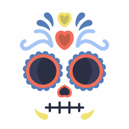 Colorful skull calavera flat