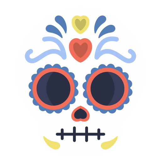 Colorful skull calavera flat Transparent PNG