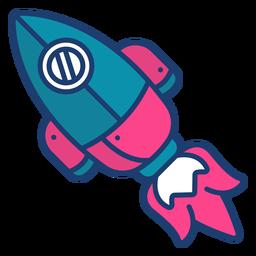 Golpe de cohete espacial colorido