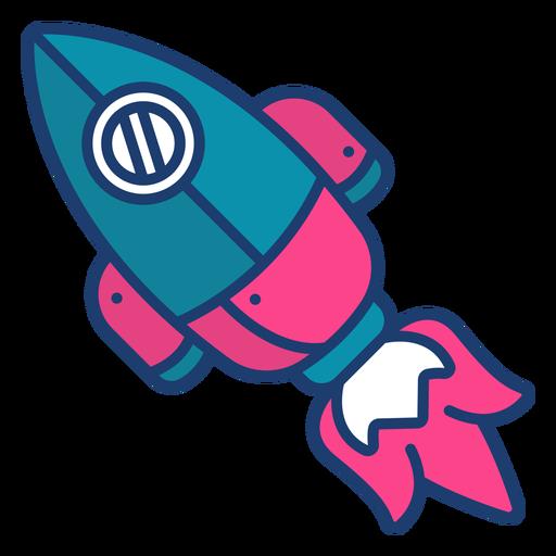 Colorful space rocket stroke