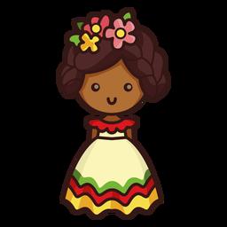 Personagem mexicana de dançarina bonito