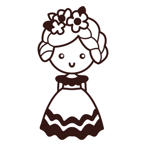 Cute female dancer mexican character stroke