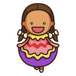 Personagem feminina de dançarina mexicana fofa