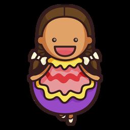 Personaje femenino lindo bailarín mexicano