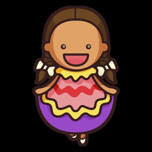 Personaje femenino lindo bailarín mexicano Transparent PNG