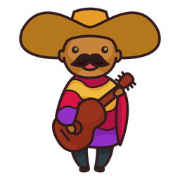 Cute mexican male mariachi character