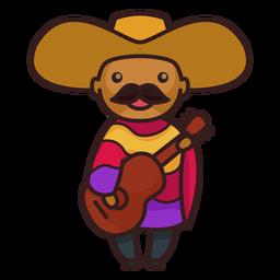 Personagem de mariachi masculino mexicano bonito