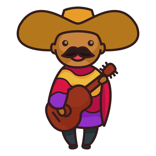 Cute mexican male mariachi character Transparent PNG