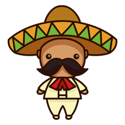 Cute mexican mariachi male character icon