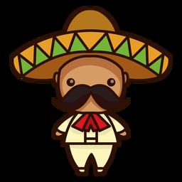 Ícone de personagem masculino bonito mariachi mexicano