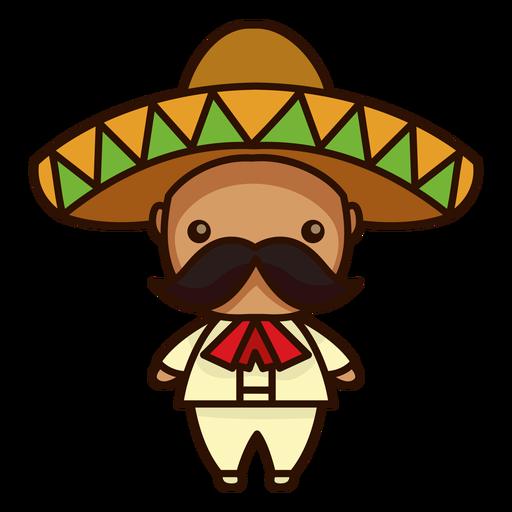 Lindo icono de personaje masculino mariachi mexicano