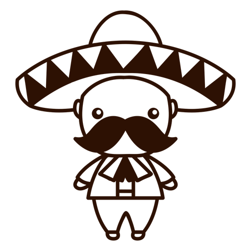 Cute mexican mariachi male character stroke Transparent PNG