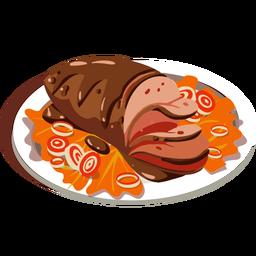 Delicioso pastel de carne isométrico