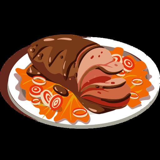 Delicioso pastel de carne isométrico.