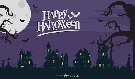 Halloween-Nachtkarten-Vektor